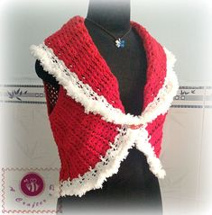 Looking for a crochet short vest pattern? Here's a chic crochet shawl cir-collar vest with ribbed texture, free written pattern in US crochet terms. Crochet Santa, Crochet Coat, Crochet Shawl, Crochet Clothes, Free Crochet, Crochet Christmas, Crochet Motif, Crochet Flowers, Christmas Crafts