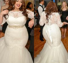2016 New Vestidos Mermaid Wedding Dresses Plus Size Half Sleeves Illusion Neck Lace Beads Belt Sweep Train Organza Formal Cheap Bridal Gowns Online with $169.64/Piece on Haiyan4419's Store | DHgate.com