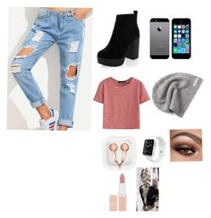 """I love cheap thrills"" by zaicute on Polyvore featuring New Look, WithChic, FingerPrint Jewellry, claire's, Apple, Rimmel and Converse"