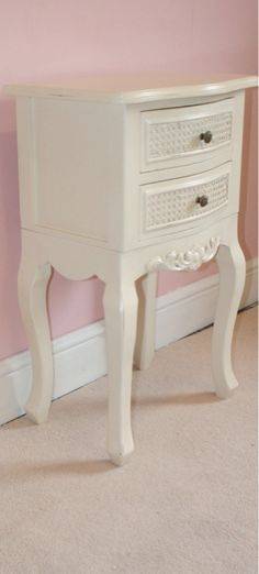 Laura antique white shabby chic bedside table - TFC9802-AW