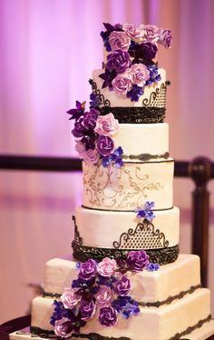 purple wedding cake idea   Deer Pearl Flowers