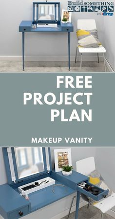 How to Build a DIY Makeup Vanity | Free project plan on buildsomething.com | Create your own space for putting on makeup and getting ready for the day. This makeup vanity offers all the features you'd want, including storage, a flip-up mirror, and even lighting, but takes up hardly any space at all thanks to a clever wall-mounted design. | #kreg #kregjig #kregjigproject #diyproject #diyfurniture #diyhomedecor