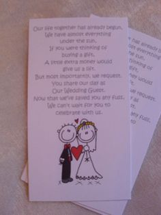 Mini Poems For Wedding invitations Asking For Cash Gifts | eBay
