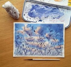 Birds and field silhouettes against cloudy sky … – # Cloudy … – Art Ideas Watercolor Illustration, Watercolor Paintings, Watercolors, Watercolor Projects, Painting Inspiration, Art Inspo, Art Sketches, Art Drawings, Landscape Drawings