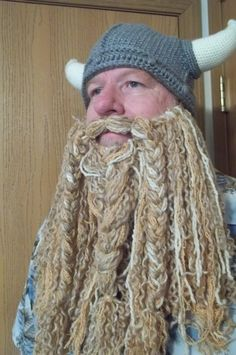 Beard only - Soft, Curly Crocheted Full length Beard and Mustache