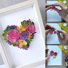 Excited to share this item from my shop: Quilling tutorial - Video lesson how to make floral heart Neli Quilling, Paper Quilling Flowers, Paper Flower Art, Quilled Paper Art, Paper Quilling Designs, Quilling Paper Craft, Flower Crafts, Quilling Flowers Tutorial, Quilled Roses