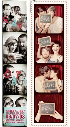 "I like the idea of making my ""save the date"" invitations pictures of us in a photo booth similar to these ones. $4 per photo. With 100 guests + postage totalling $500"