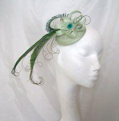 Pale Green Clara Fascinator Mini Hat by Indigo Daisy Weddings