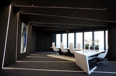 Black and white is always a stunning contrast. In the case of a modern office environment it is exceptionally striking because it is uncommon to business. www.90degreeofficeconcepts.com custom design and build modern office environments