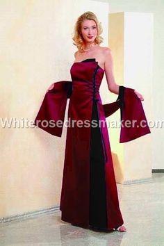 Gothic Wedding Dress Alternative Medieval Black Red Bridesmaid