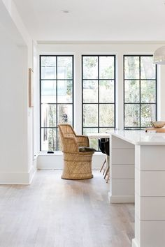 Modern Farmhouse Kitchrn Island, Trim and Walls: Paint Color is Benjamin Moore White Dove OC-17