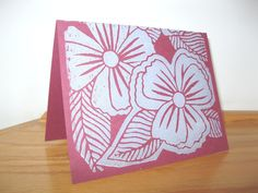 Hand-carved, hand-printed flower card $4.00.
