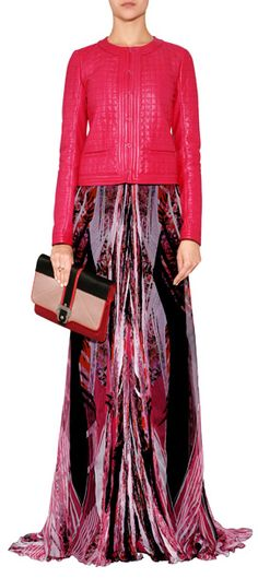 The ultimate in luxe, this radiant leather jacket from Roberto Cavalli features allover quilting and a super saturated hue #Stylebop