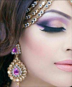 Royal Purple Bridal Eye Makeup With Winged Tip Bridal Eye Makeup, Bridal Nail Art,