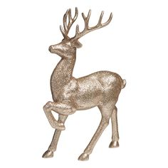 Wilko Let It Glow Gold Glitter Stag Orn