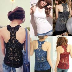 Best Womens Sexy Crochet Back Hollow out Vest Sleeveless Camisole Lace Cami Crew Neck Solid Color Casual Slim Tank Top WF-3799 Online with $3.95/Piece | DHgate