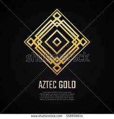Golden square shape. Gradient premium logotype. Isolated aztec logo. Business identity concept for jewelry, precious company or jewellery boutique.