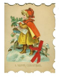 Large Ellen Clapsaddle Christmas Card with Die Cut on Cover