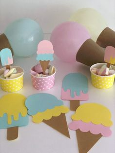 Candy Theme Birthday Party, Boys First Birthday Party Ideas, Ballerina Birthday Parties, Birthday Party Decorations, Ice Cream Theme, Ice Cream Party, Party Kit, Ideas Decoracion Cumpleaños, Half Birthday Baby