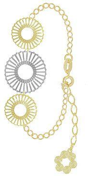 Pulseira folheada a ouro c/ adereços de chapa vazada e detalhe prateado-Clique para maiores detalhes