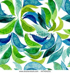 Watercolor Bright Green and Blue Abstract Lines Seamless Pattern