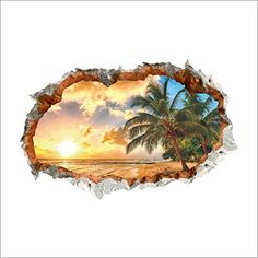 Amaonm 24x36 Giant 3D Sunshine Beach Through The Wall Dusk Coco Natural Scenery Wall Decals Wall Stickers Murals Decor for Offices Classroom Bedroom Livingroom Background *** Click image for more details.