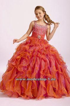 Rüschen Abendkleid Ballkleid für Mädchen Orange Blumenmädchenkleid Brautjungfernkleid  www.modeshop-1.de