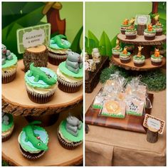safari-jungle-theme-party-dessert-table-cupcakes