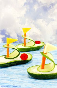 Healthy Cucumber Boat Shaped Snack for Kids, Fun Snacks for Kids, Party food, Beach Recipes, Ocean T Kids Party Snacks, Toddler Snacks, Healthy Snacks For Kids, Healthy Meals, Sleepover Snacks, Summer Snacks, Healthy Recipes, Easy Recipes, Healthy Food