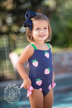 Laguna Beach Bathing Suit - Sanibel Strawberry with Nantucket Navy and - The Beaufort Bonnet Company