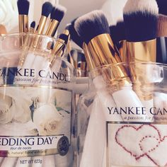 Recycled Yankee candle jar to hold make up brushes
