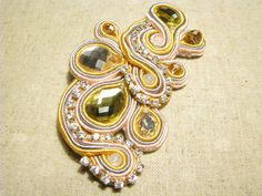 Sparkly brooch Crystal brooch Gold yellow brooch Buckle brooch Rhinestone brooch Dress brooch applique Soutache brooch Gift Valentines day