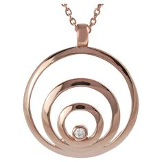 1/10 CT. T.W. Round-cut CZ Bezel Set Circle Necklace in Rose Gold-plated Sterling Silver - Rose Gold, Women's