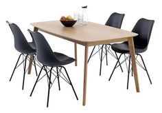 Bord BREDEBRO L150 +4 stolar sv KLARUP | JYSK Home Interior Design, Dining Table, Furniture, Home Decor, House, Dining Room Table, Decoration Home, Room Decor, Home Furniture