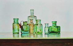 Antique bottlesoil on panel 21 x 32cm, Kees Blom