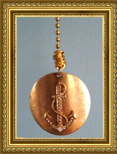 Gold/Bling Anchor Fan Pull / Home Decor - Gold Chain - Gold & Bling Anchor