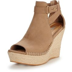 Ugg Australia Jolina Peep Toe Wedge (14.955 RUB) ❤ liked on Polyvore featuring shoes, sandals, padded sandals, summer shoes, peep-toe shoes, peep toe wedge sandals and wedge heel sandals