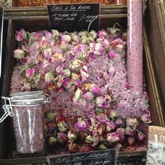 Rose Salt in Provence - I always stock up on honey, herbes de provence in earthenware pots and my favorite: tubes of salt infused with rose blossoms.