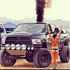 Dodge Cummins & Bikini Girl Rollin Coal