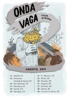 Poster design and banner adaptation for Onda Vaga's european tour.