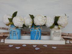 Vasi dipinti - QUATTRO STAGIONI AZZURRO - Set da 3 pezzi - Centrotavola - Primavera - Comunione – Battesimo, by Luci del Nord, 16,00 € su misshobby.com
