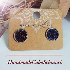 Cabochon Ohrringe Ohrstecker Ohrhänger 12mm druzy dunkel blau, Edelstahl oder Bronzefassung