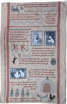 Torchon Saucet.  Wow!  It is all in French so I can't read a word of it, but someone created one of the most ornate family tree samplers I have ever seen.  It includes old family photos that have been transferred to fabric and sewn on.  Absolutely stunning!