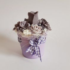 Levandulová kytička v kyblíčku s éterickým olejem Lavender soap bouquet with essential oil Planter Pots