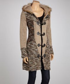 Take a look at this Tape & Gray Marled Hooded Coat by Fantazia on #zulily today!
