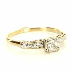 Antique Art Deco 14 Karat Yellow White Gold Diamond Engagement Ring Bridal Used $795
