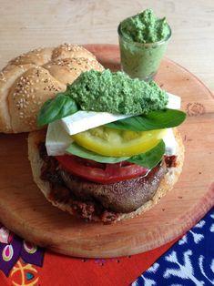 Veggie Caprese burger by California Greek Girl   Dog Days of Summer on Recipe Renovator