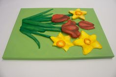 """""""Daffodils and Tulips"""" (side view) 3D Acrylic Painting FOR SALE contact info@purplefaye.co.uk to buy or commission your own Canvas Size 12″x16″ (305mmx406mm) Image Depth 35mm"""