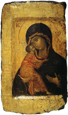 The Vladimir Madonna and Child, Russian icon, Moscow School by (circle of) Rublev, Andrei - Reproduction Oil Painting Madonna Und Kind, Madonna And Child, Byzantine Icons, Byzantine Art, Religious Icons, Religious Art, School Painting, Most Famous Paintings, Russian Icons