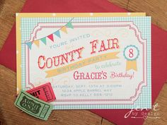 These invites are soooo cute for a County Fair Party!  Love the tickets attached...such a fun touch!